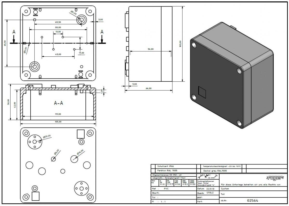Industriegehaeuse 105 x 105 x 66 mm Schutzart IP 66 PVC