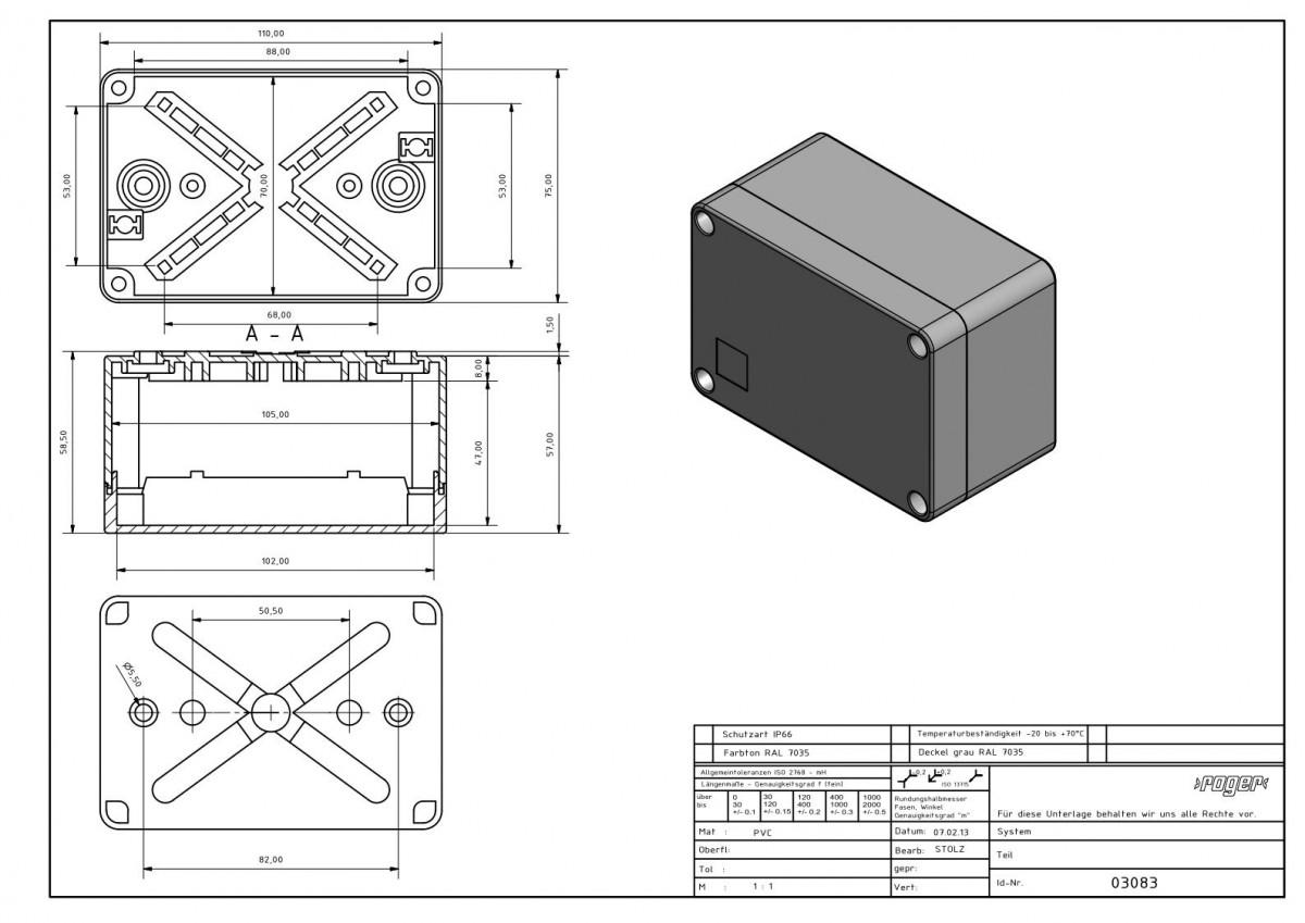 Industriegehaeuse 110 x 75 x 59 mm Schutzart IP 66 PVC