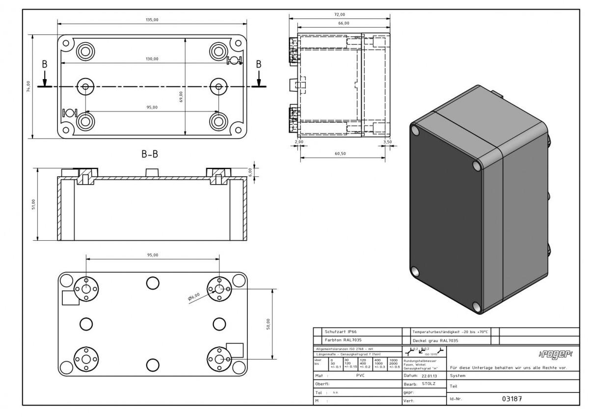 Industriegehaeuse 135 x 74 x 72 mm Schutzart IP 66 PVC