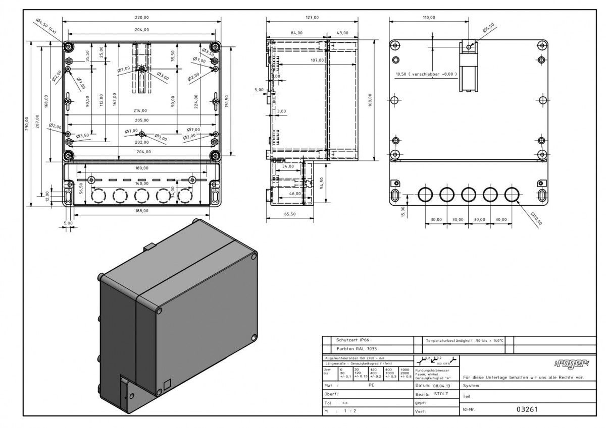 Industriegehaeuse 230 x 220 x 126 mm Schutzart IP 66 PC