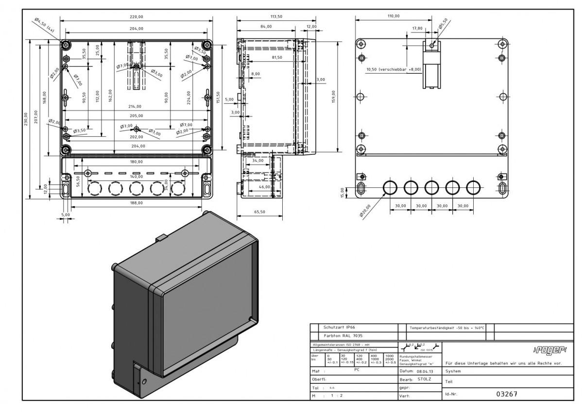 Industriegehaeuse 230 x 220 x 112 mm Schutzart IP 66 PC