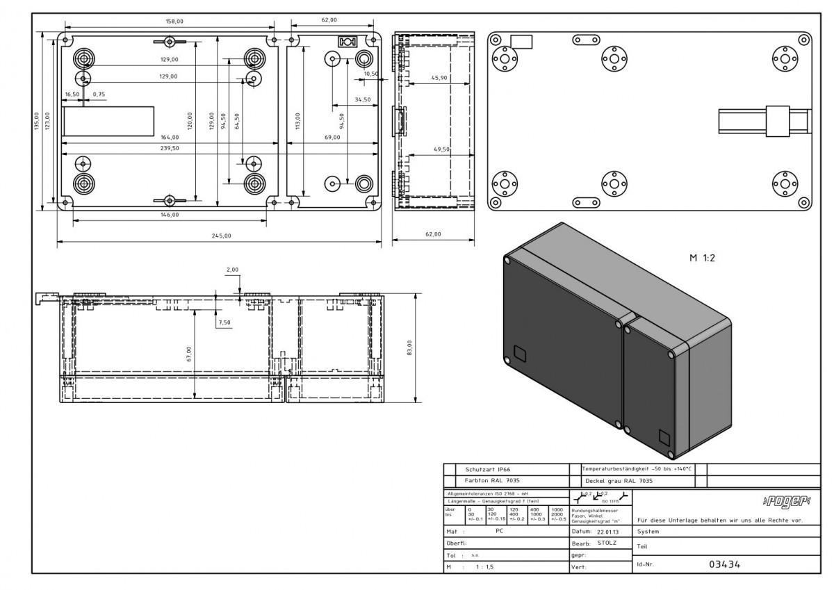 Industriegehaeuse 245 x 135 x 83 mm Schutzart IP 66 PC
