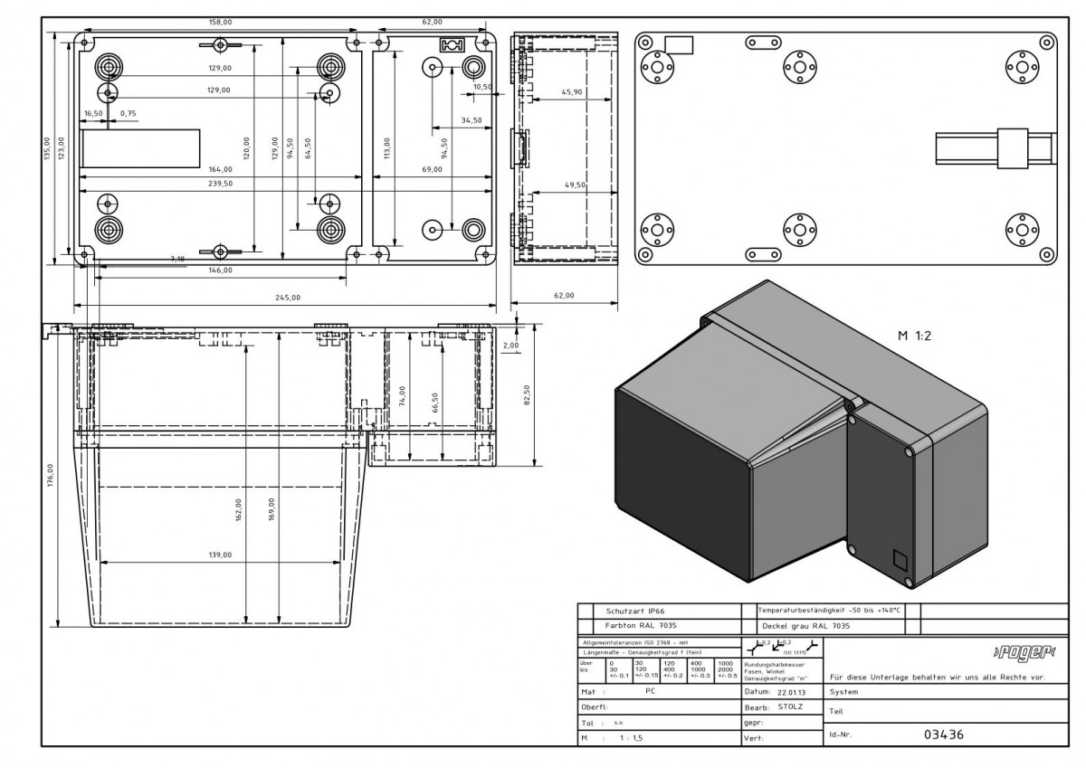 Industriegehaeuse 245 x 135 x 176 mm Schutzart IP 66 PC