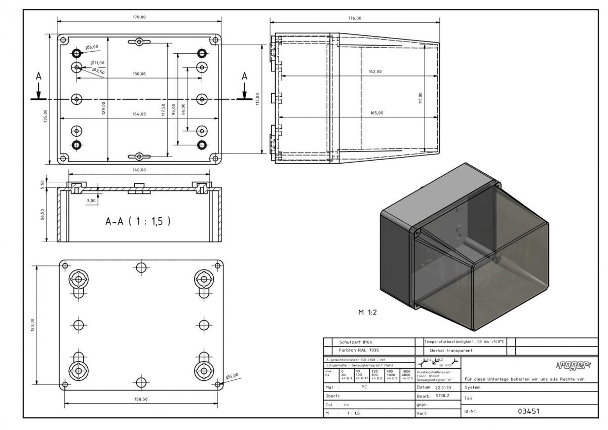Industriegehaeuse 170 x 135 x 176 mm Schutzart PC