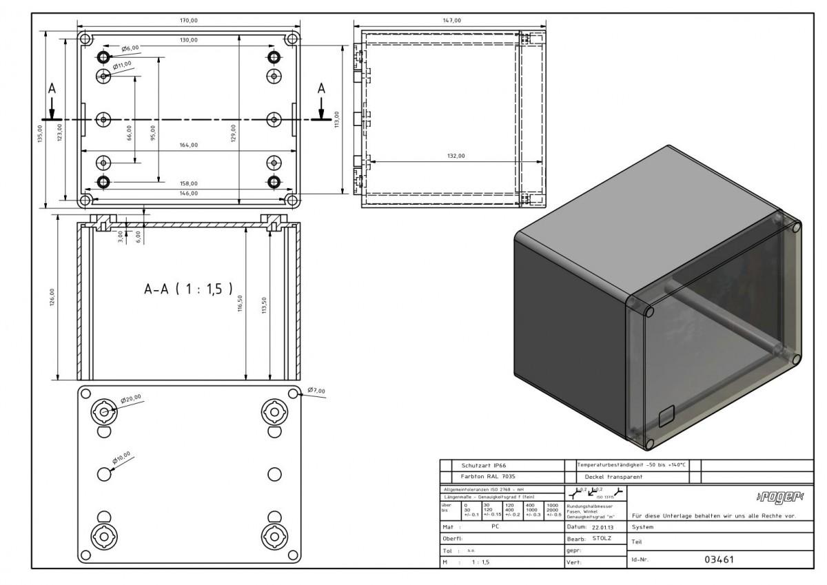 Industriegehaeuse 170 x 135 x 147 mm Schutzart IP 66 PC