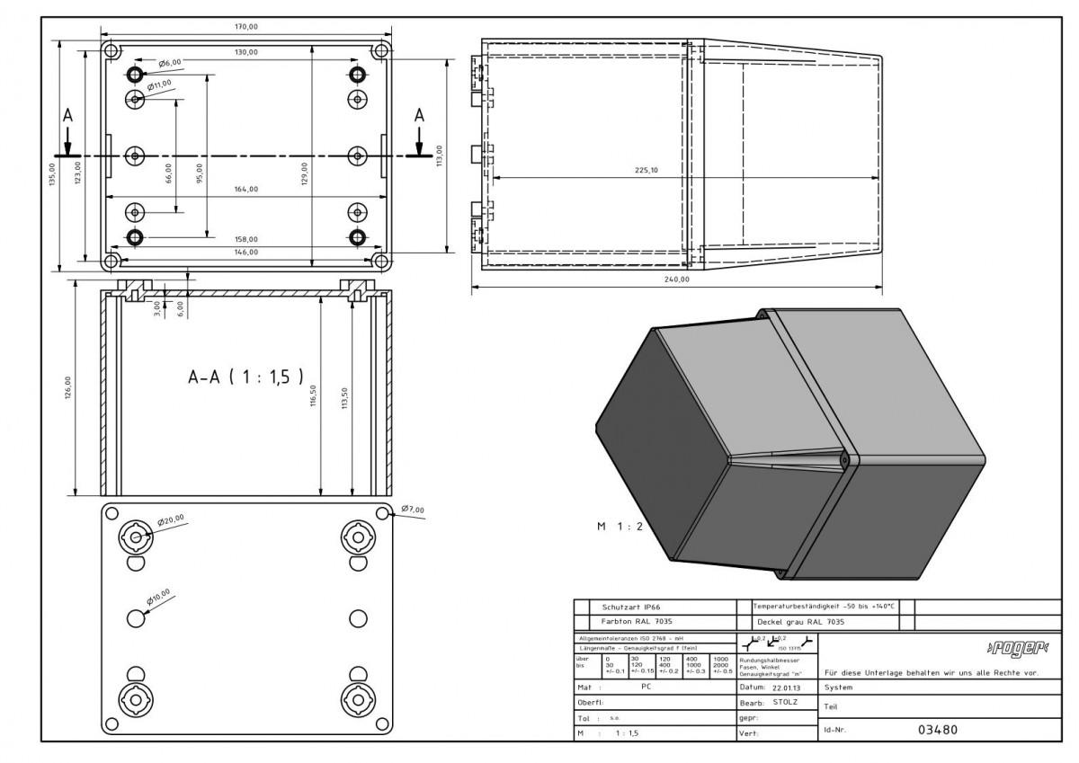 Industriegehaeuse 170 x 135 x 241 mm Hoher Deckel Schutzart IP 66 PC