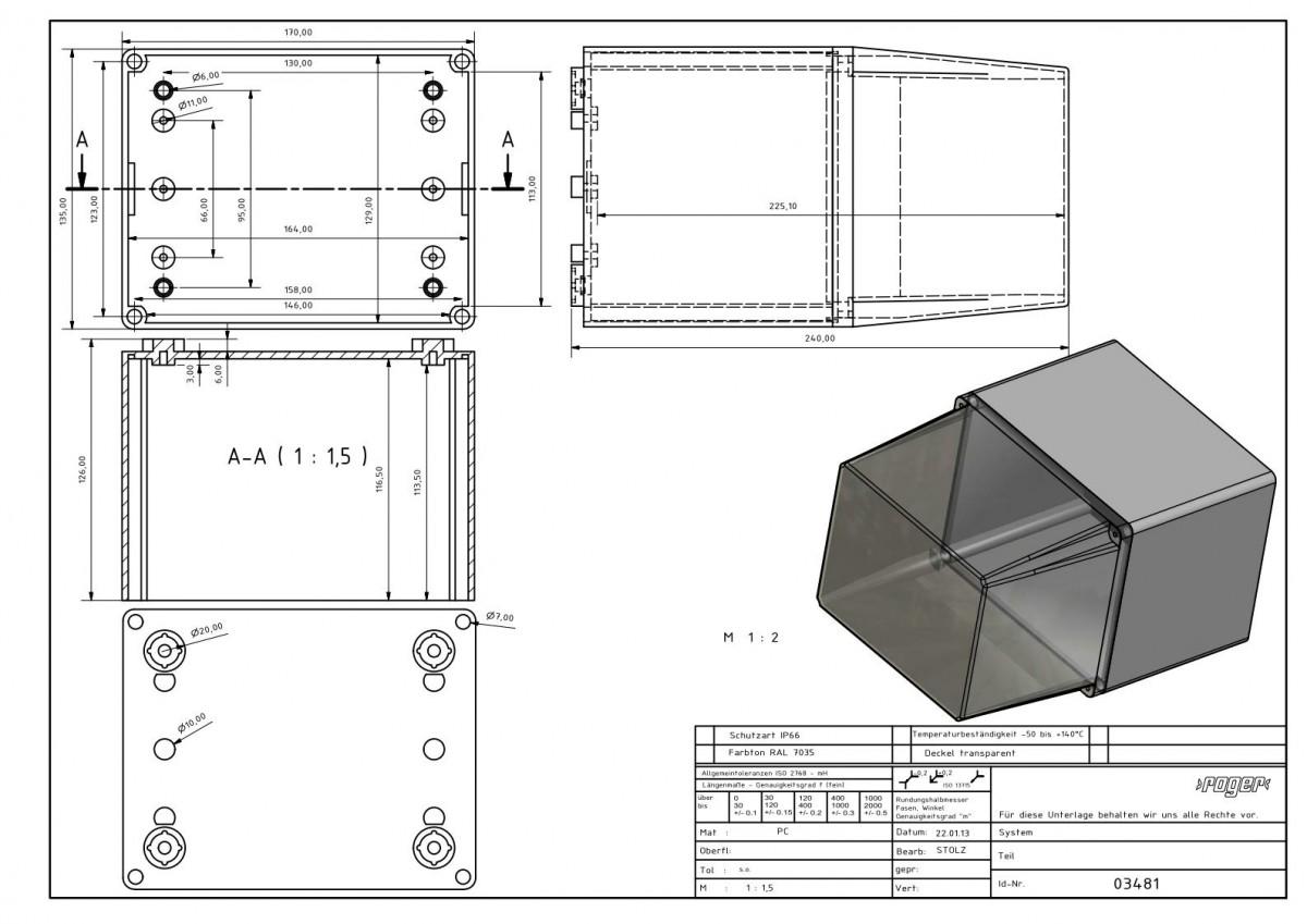 Industriegehaeuse 170 x 135 x 240 mm Schutzart IP 66 PC