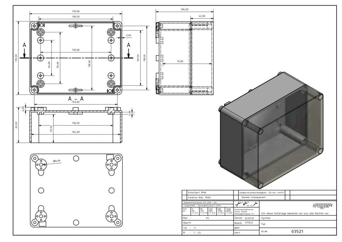 Industriegehaeuse 170 x 135 x 106 mm Schutzart IP 66 PC