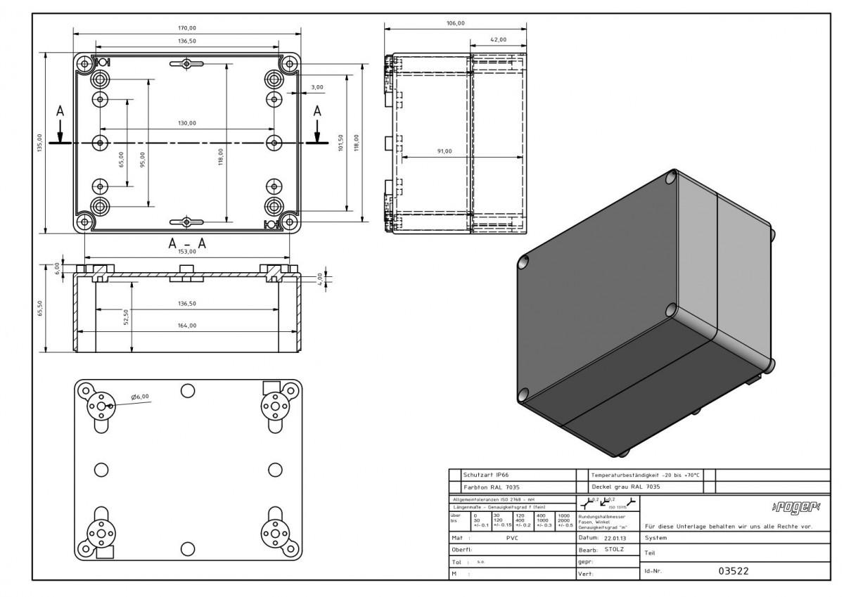 Industriegehaeuse 170 x 135 x 107 mm Schutzart IP 66 PVC