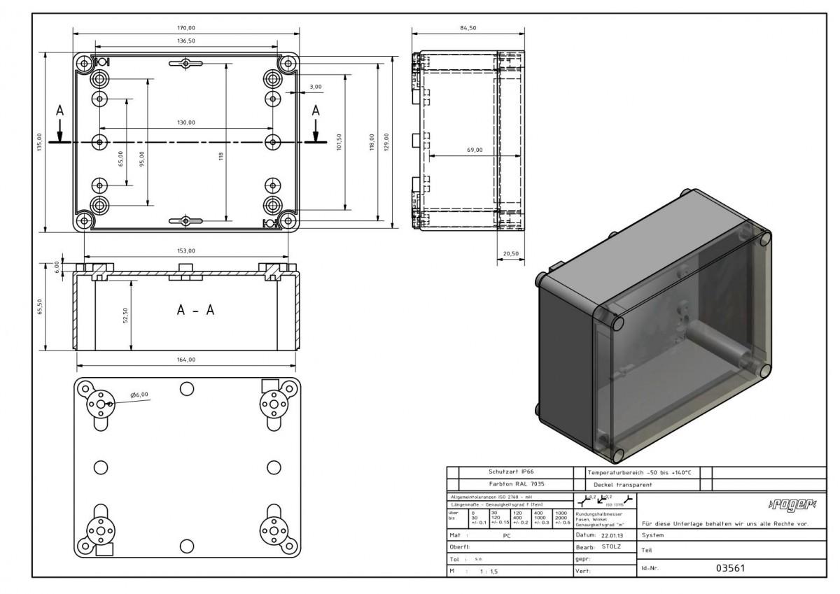 Industriegeaeuse 170 x 135 x 85 mm Schutzart IP 66 PC