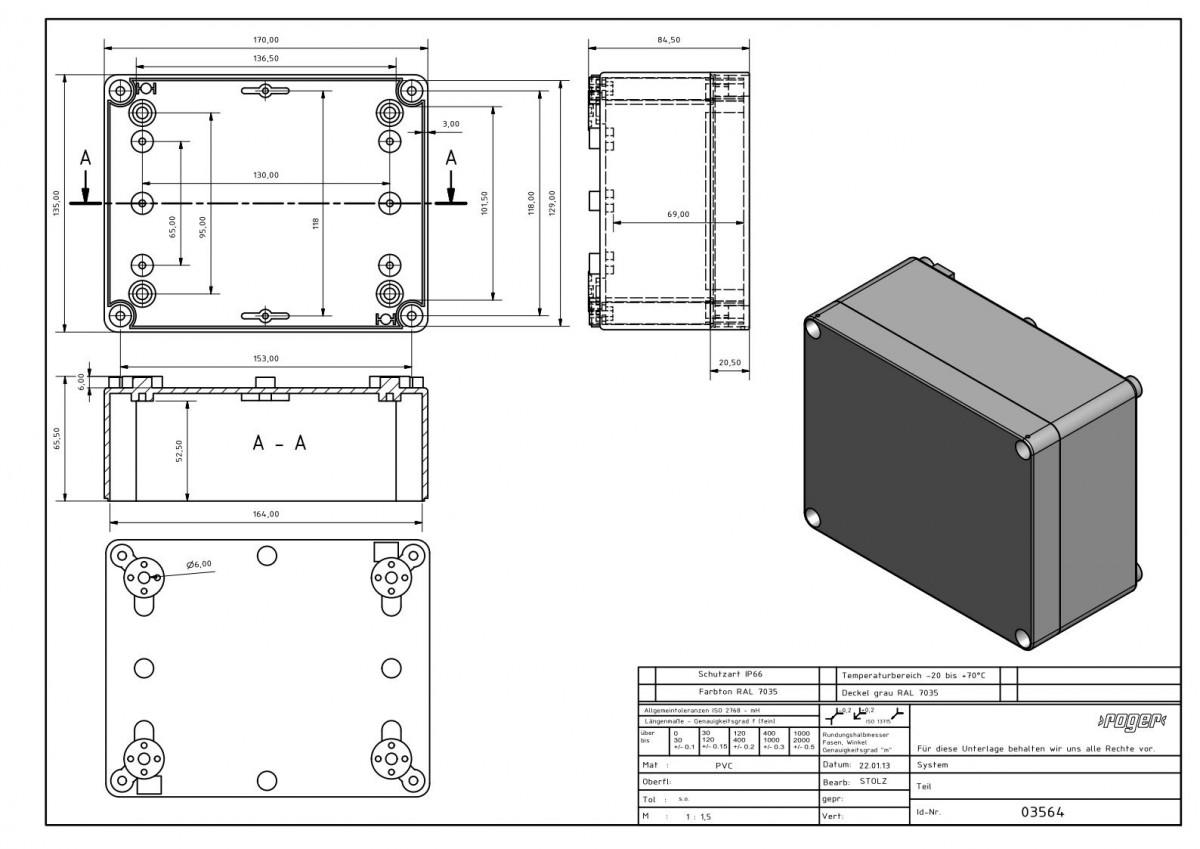 Industriegehaeuse 170 x 135 x 85 mm Schutzart IP 66 PVC