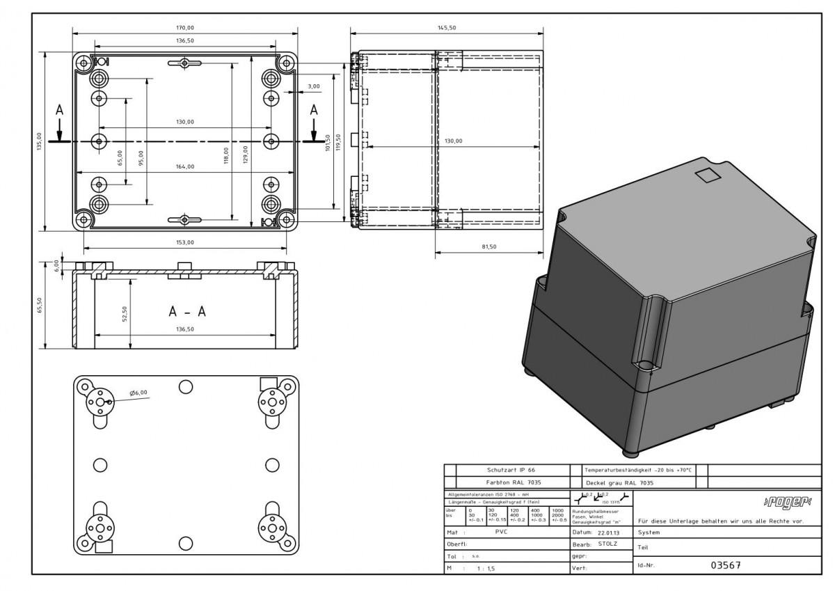 Industriegehaeuse170 x 135 x 145 mm Schutzart IP 66 PVC