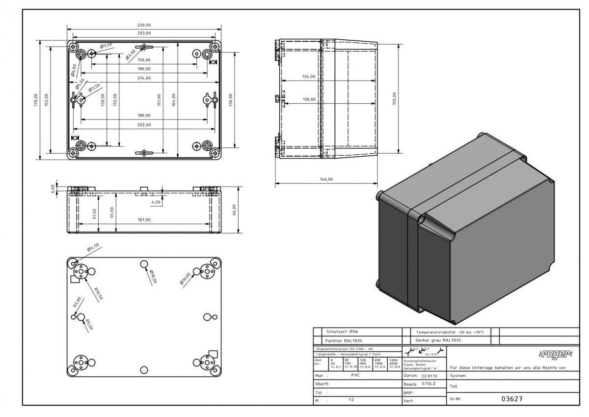 Industriegehaeuse 220 x 170 x 146mm Schutzart IP 66 PVC
