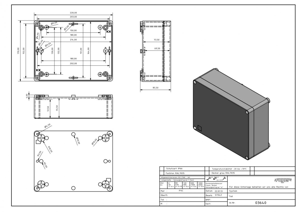 Industriegehaeuse 220 x 170 x 86 mm Schutzart IP 66 PVC