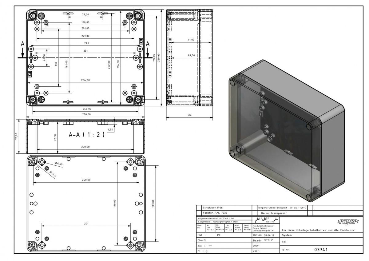 Industriegehaeuse 70 x 220 x 106 mm Schutzart IP 66 PC