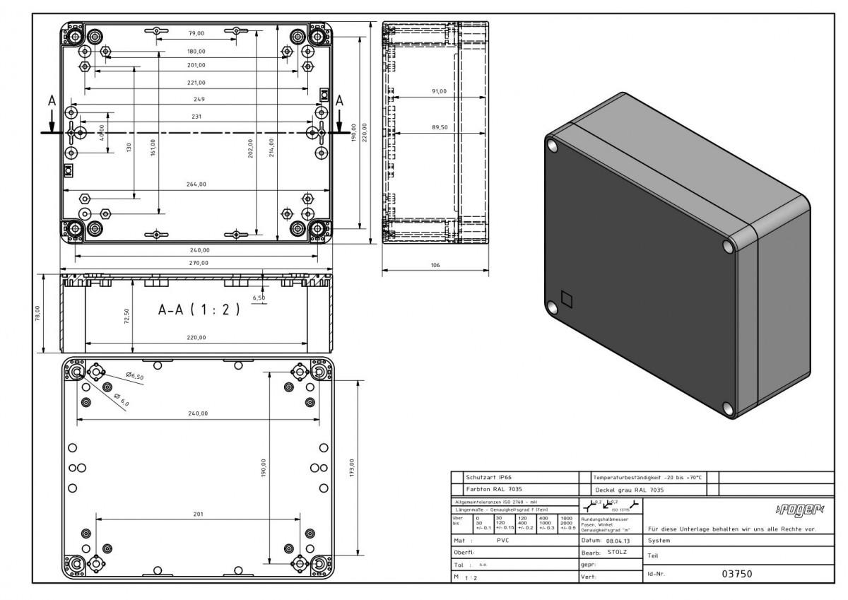 Industriegehaeuse 270 x 220 x 106 mm Schutzart IP 66 PVC
