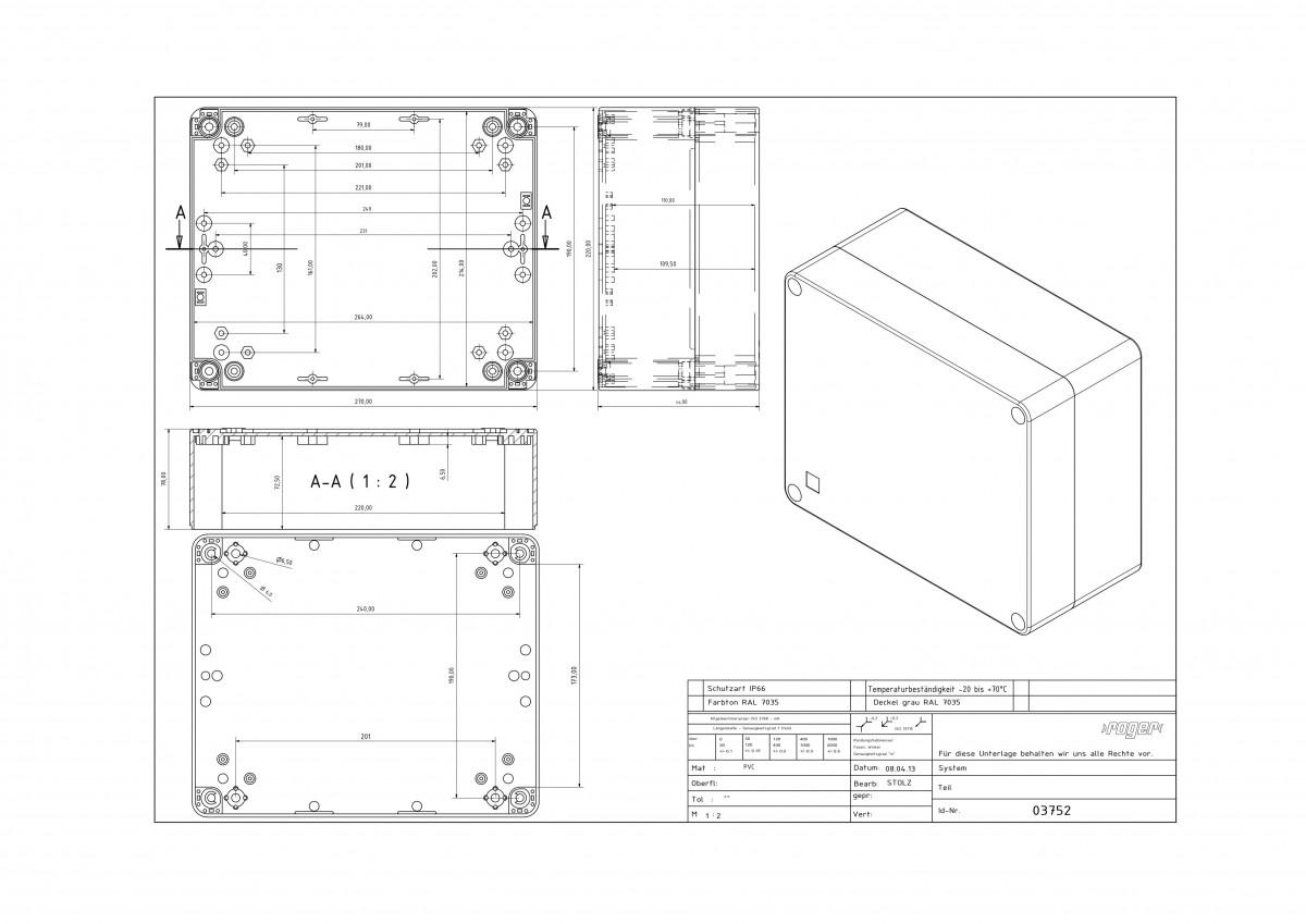 Industriegehaeuse 270 x 220 x 126 mm Schutzart IP 66 PVC