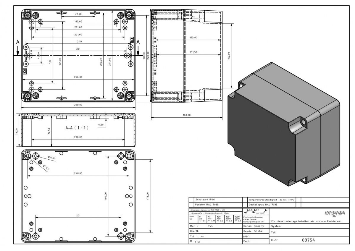 Industriegehaeuse 270 x 220 x 168 mm Schutzart IP 66 PVC