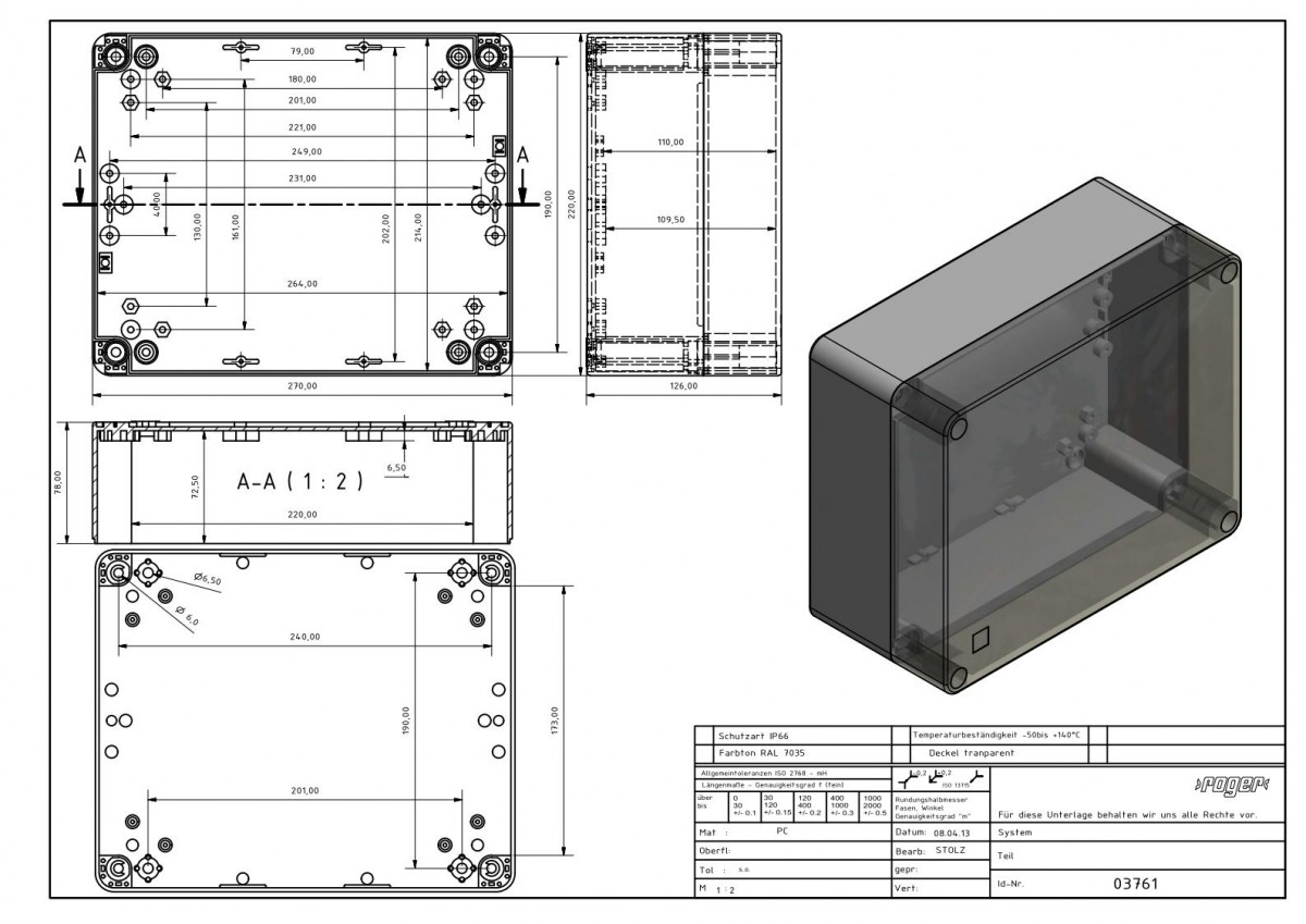 Industriegehaeuse 270 x 220 x 126 mm Schutzart IP 66 PC
