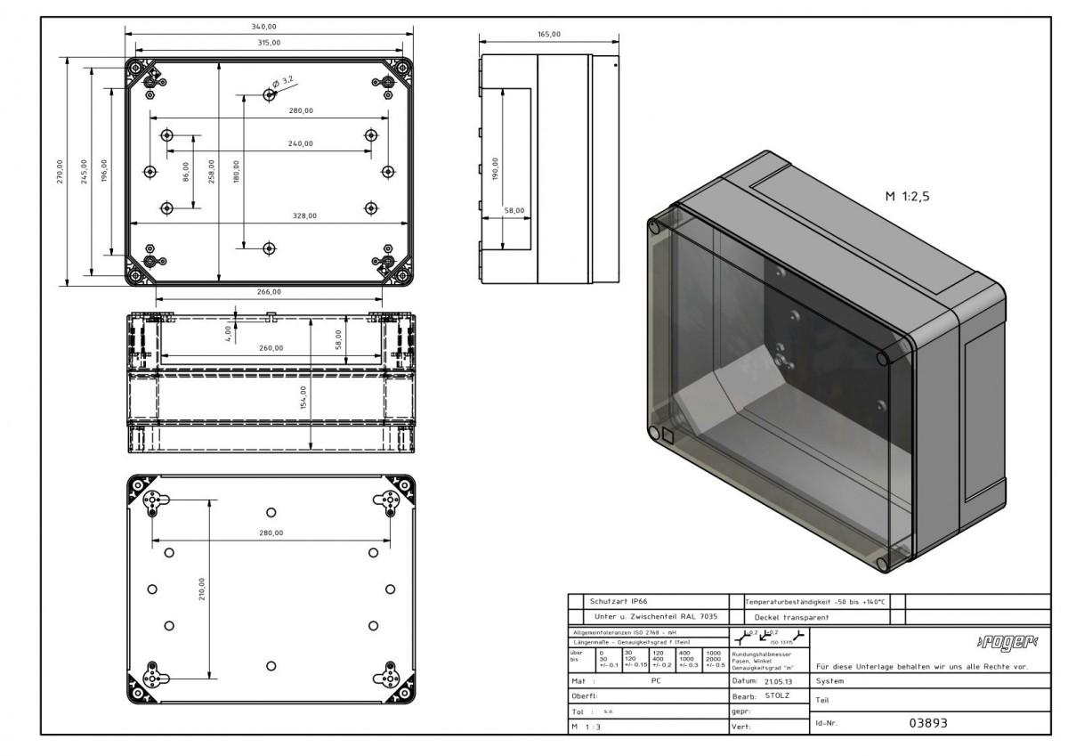 Industriegehaeuse 340 x 270 x 165 mm Schutzart IP 66 PC