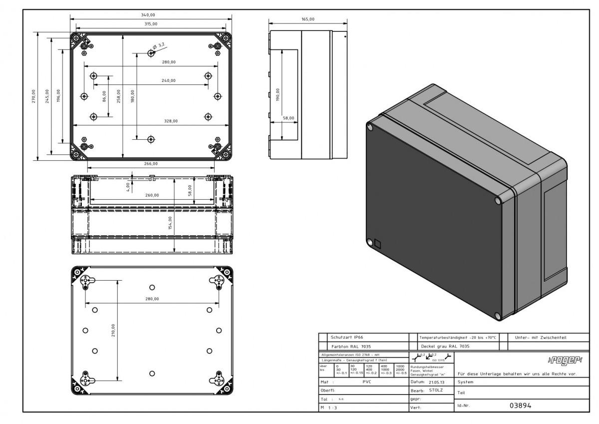 Industriegehaeuse 340 x 270 x 165 mm Schutzart IP 66 PVC