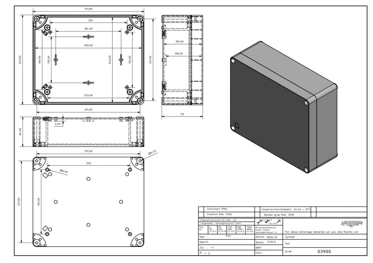 Industriegehaeuse 313 x 253 x 115 mm Schutzart IP 66 PVC