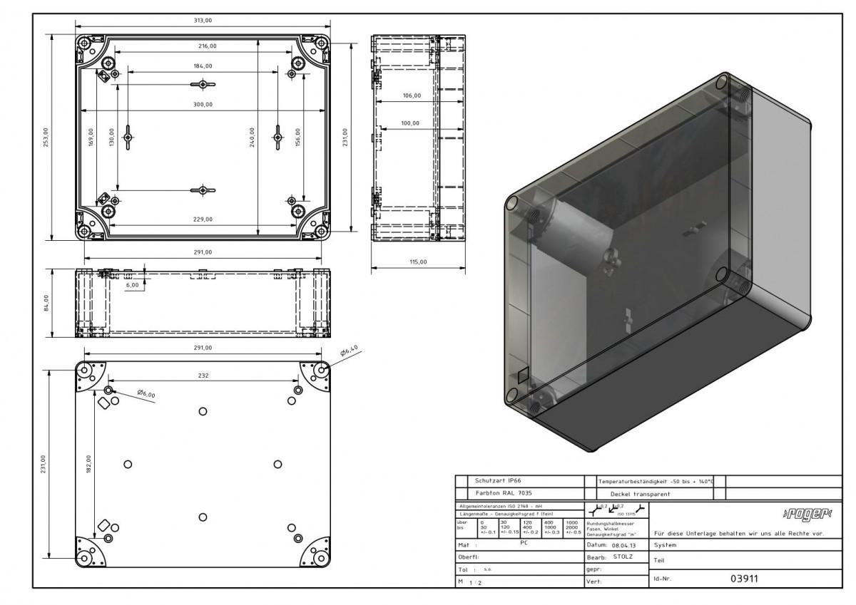 Industriegehaeuse 313 x 253 x 115 mm Schutzart IP 66 PC