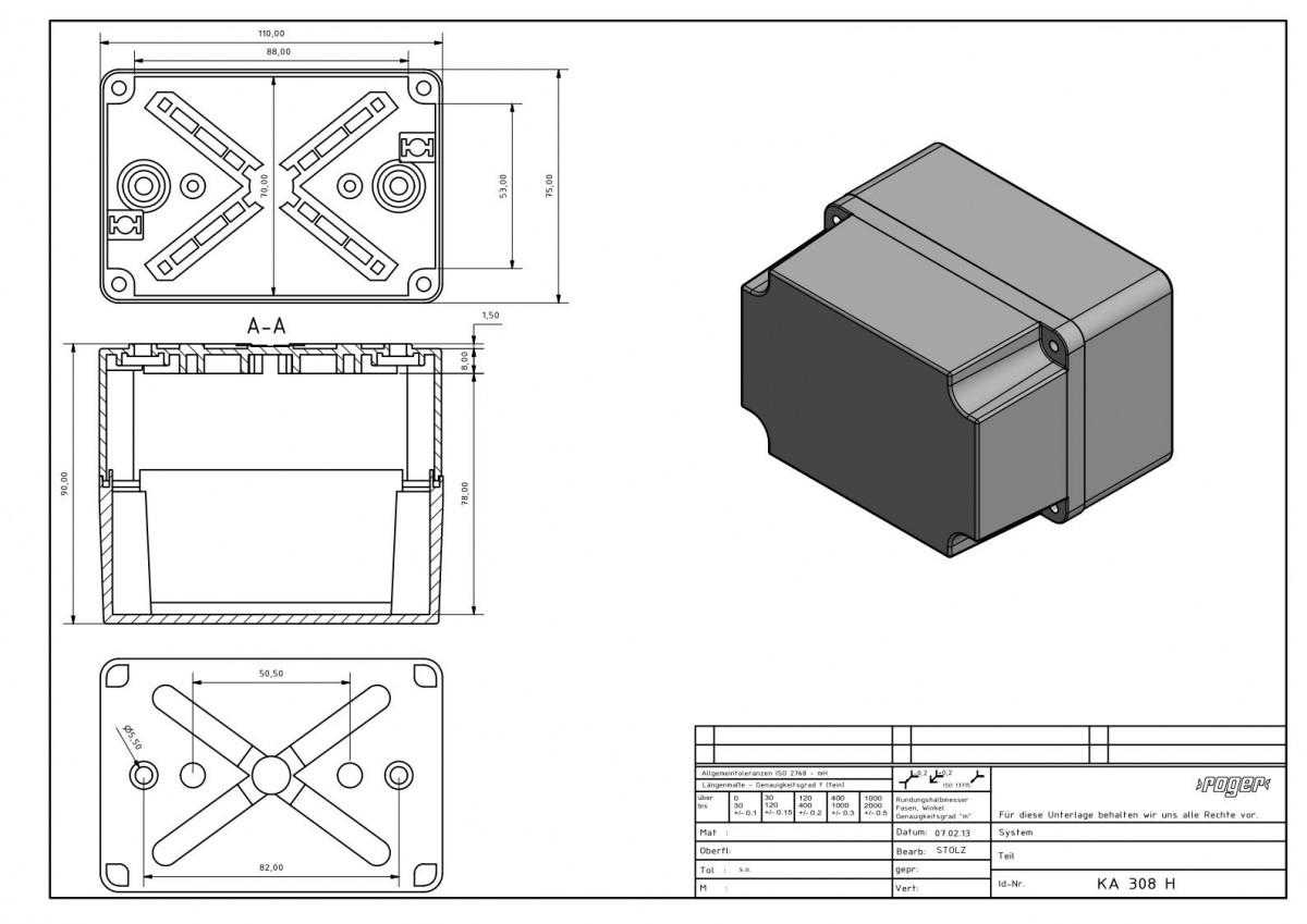 Industriegehaeuse 110 x 75 x 90 mm Schutzart IP 66 PVC PC