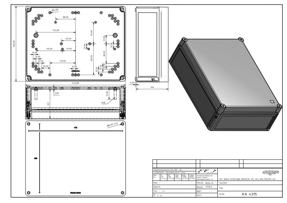 Industriegehaeuse 440 x 330 x 145 mm Schutzart IP 66 PC
