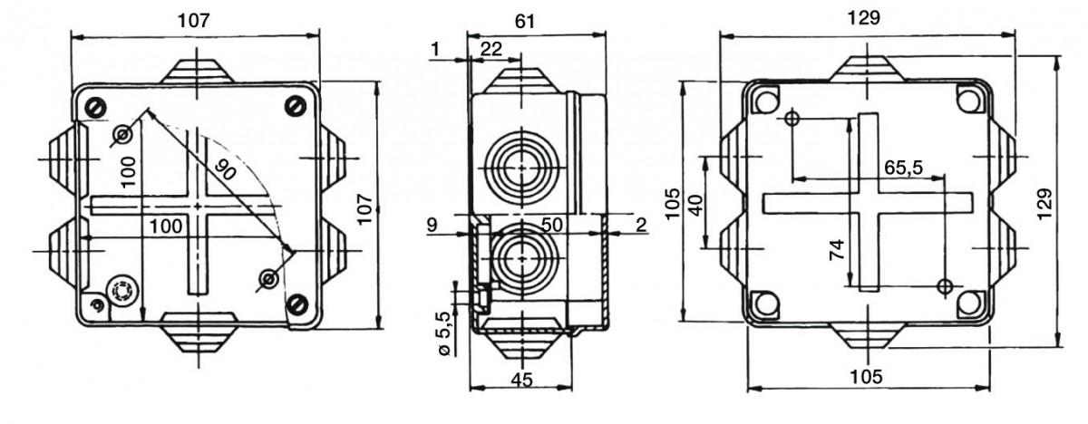 PVC Installationsgehäuse 129x129x61 IP55