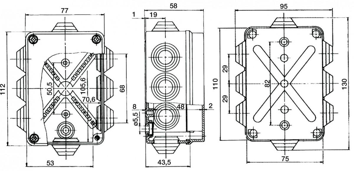 PVC Installationsgehäuse 130x95x58 IP55