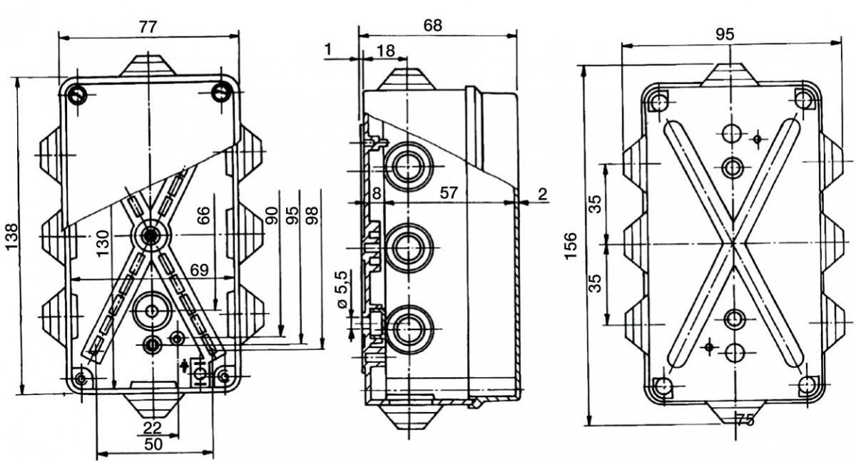 PP Installationsgehäuse 156x95x681 IP55