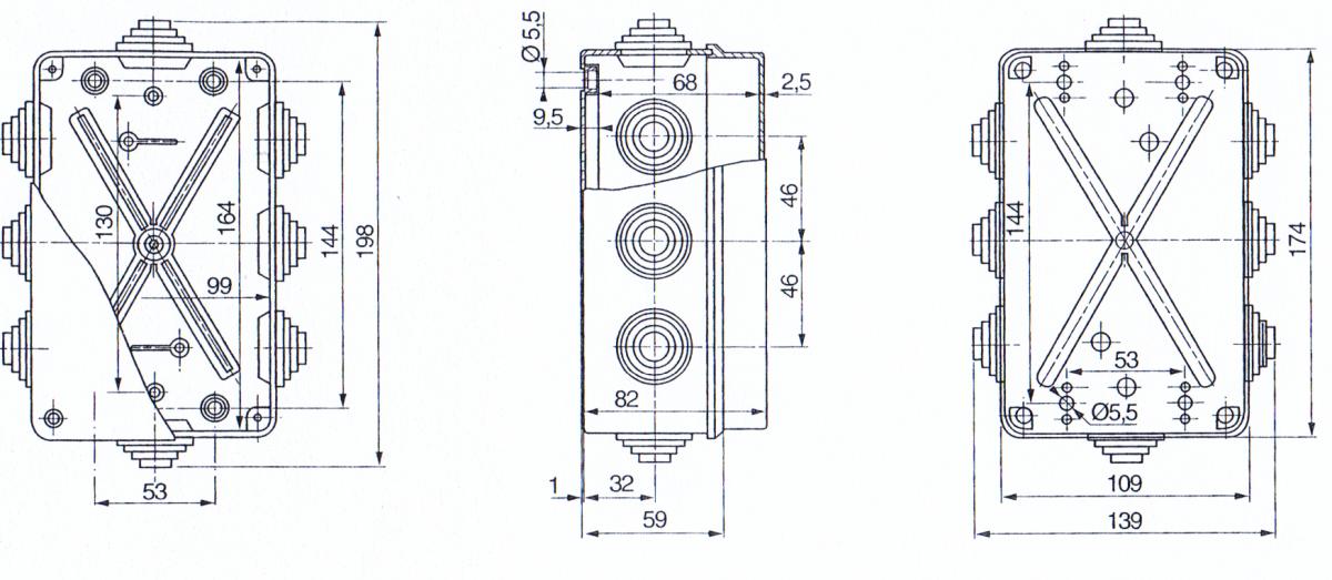 PVC Installationsgehäuse 198x139x82 IP 55