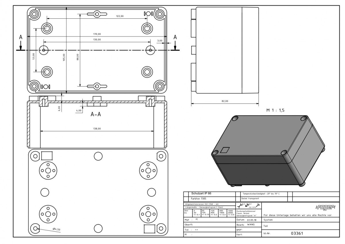 Industriegehaeuse 170 x 105 x 82 mm Schutzart IP 66 PC