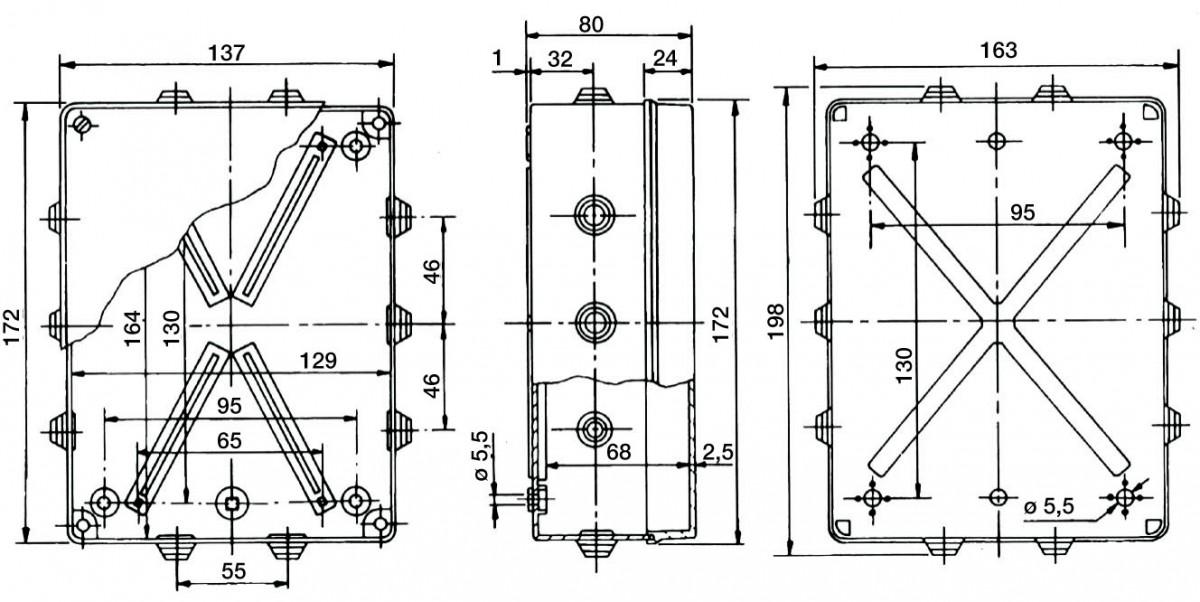 PVC Installationsgehäuse 198x163x80 IP 55