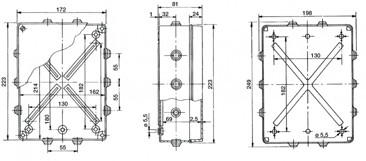 PVC Installationsgehäuse 214x162x69 IP 55