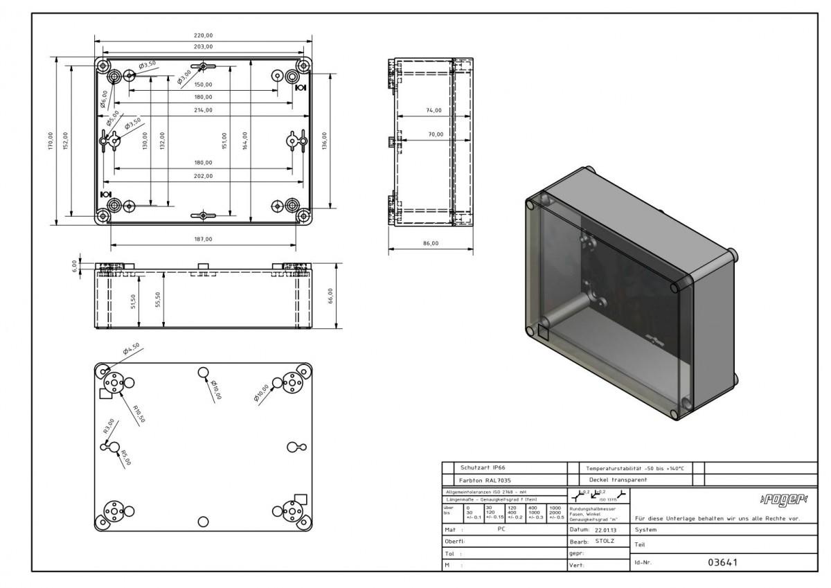 220 x 170 x 86 mm Schutzart IP 66 PC