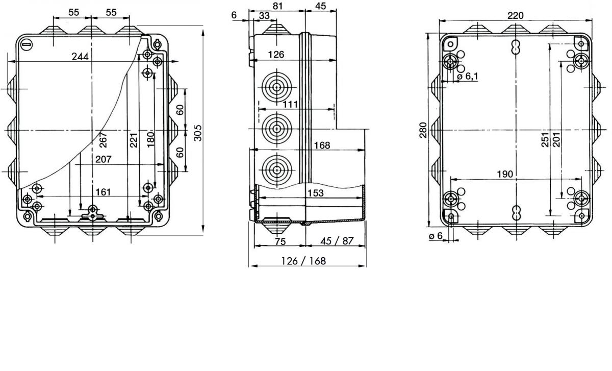PP Installationsgehäuse 305x244x126/305x244x168 IP 55