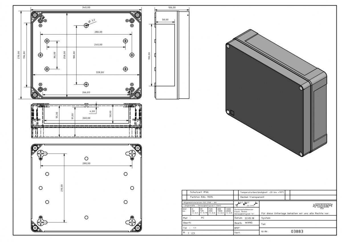 Industriegehaeuse 340 x 270 x 106 mm Schutzart IP 66 PC
