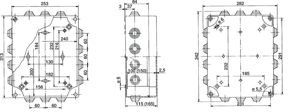 PP Installationsgehäuse 342x282x115/342x282x165 IP 55