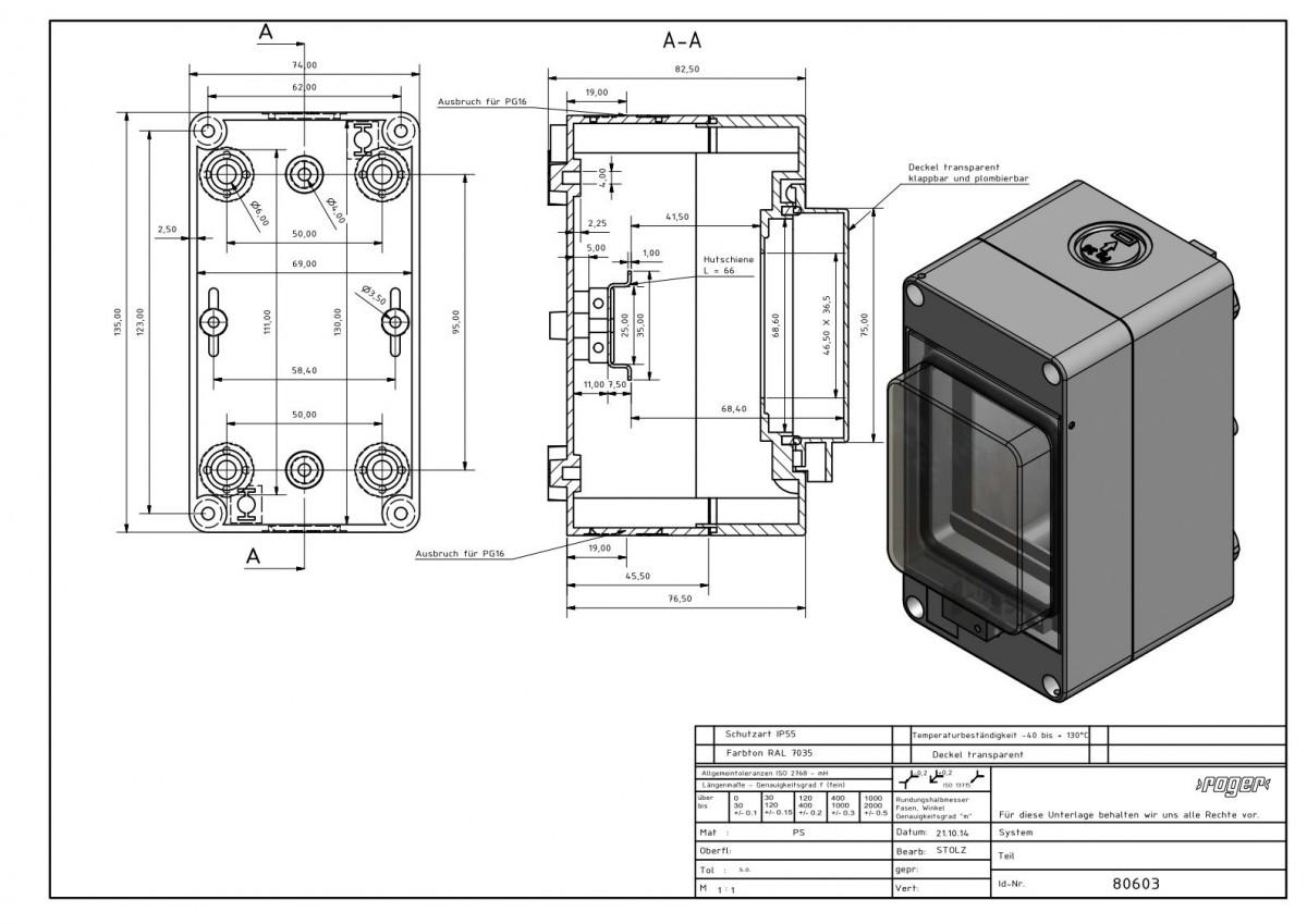 Automatengehaeuse 135 x 74 x 97 mm Schutzart IP 55 PS