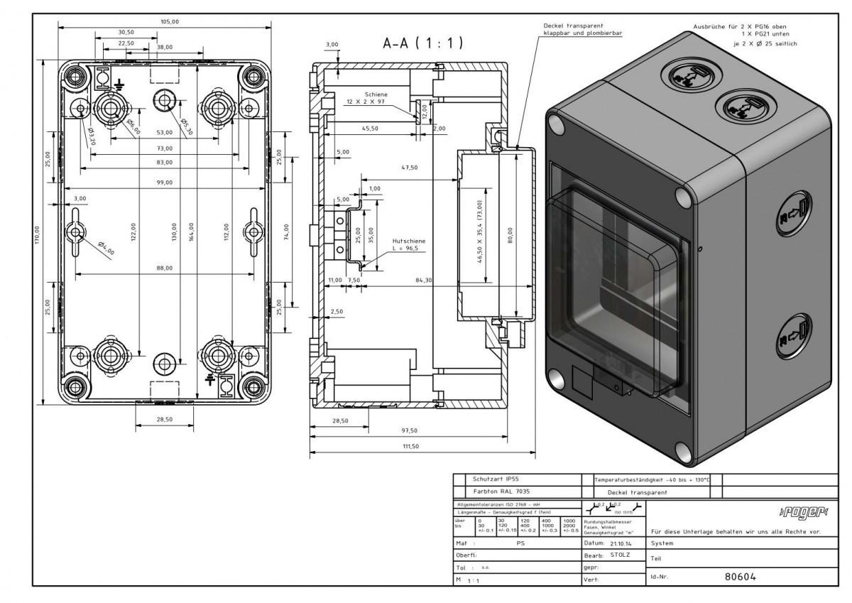 Automatengehaeuse 170 x 105 x 111 mm Schutzart IP 55 PS