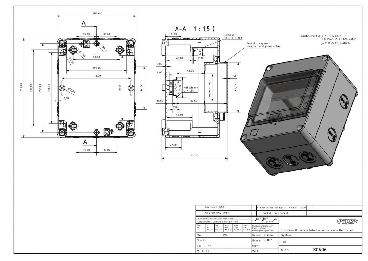 Automatengehaeuse 170 x 135 x 112 mm Schutzart IP 55 PS