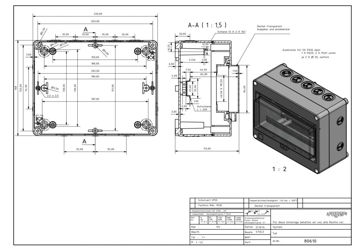 Automatengehaeuse 168 x 220 x 112,5 mm Schutzart IP 55 PS