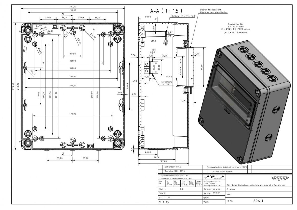Automatengehaeuse 270 x 220 x 120 mm Schutzart IP 55 PS
