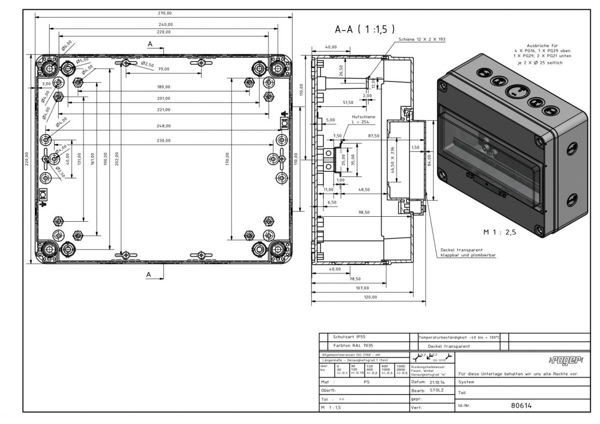 Automatengehaeuse 220 x 270 x 120 mm Schutzart IP 55 PS