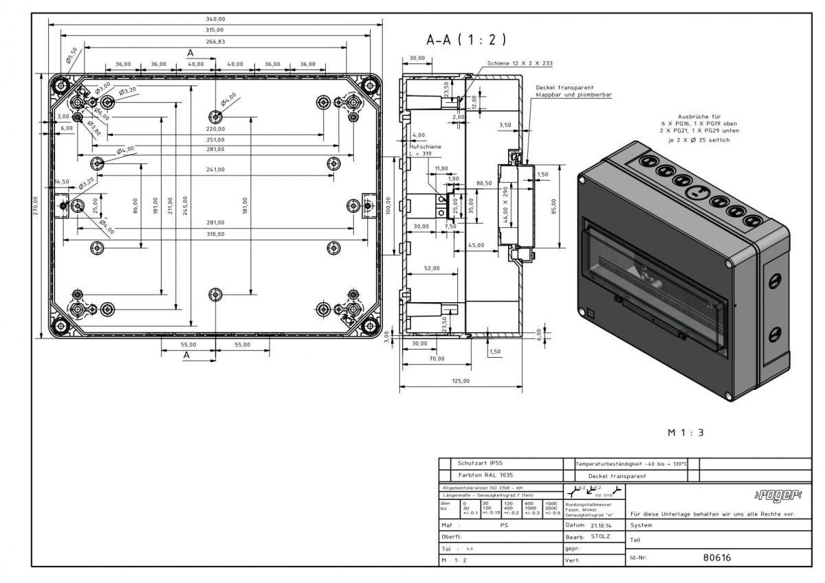 Automatengehaeuse 270 x 340 x 138 mm Schutzart IP 55 PS