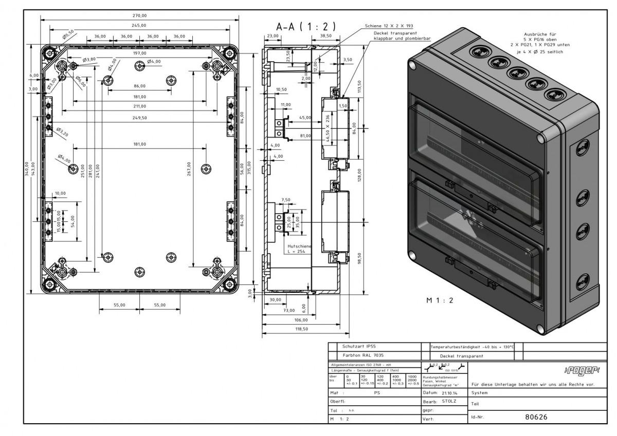 Automatengehaeuse 340 x 270 x 119,5 mm Schutzart IP 55 PS