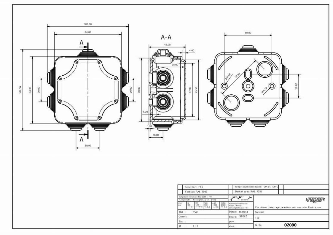 PP Gehaeuse 102 x 102 x 47 mm Schutzart IP 55