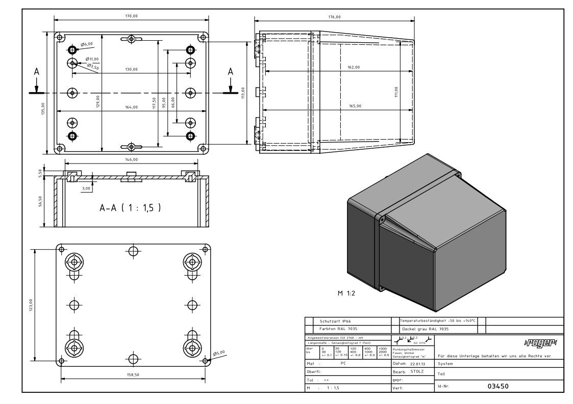 PC Gehauese 170 x 135 x 176 mm Schutzart IP 66